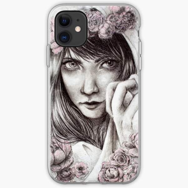Girl with Scarf and Flowers iPhone Soft Case