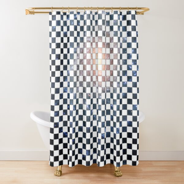 Box Painted as a Checkerboard and #Galaxy #SpiralGalaxy #MilkyWay, Astronomy, Cosmology, AstroPhysics, Universe Shower Curtain