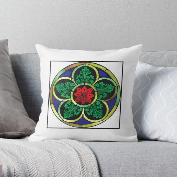 Cinquefoil Stained Glass Window Throw Pillow