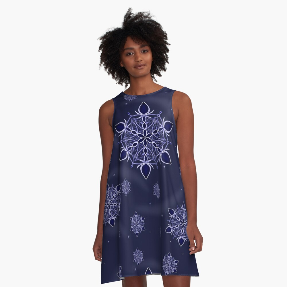 Silver and Sapphires A-Line Dress