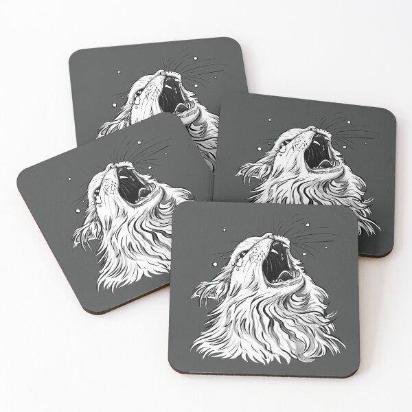 Colors/Black Screaming Thurston Meme Cat Coasters (Set of 4)