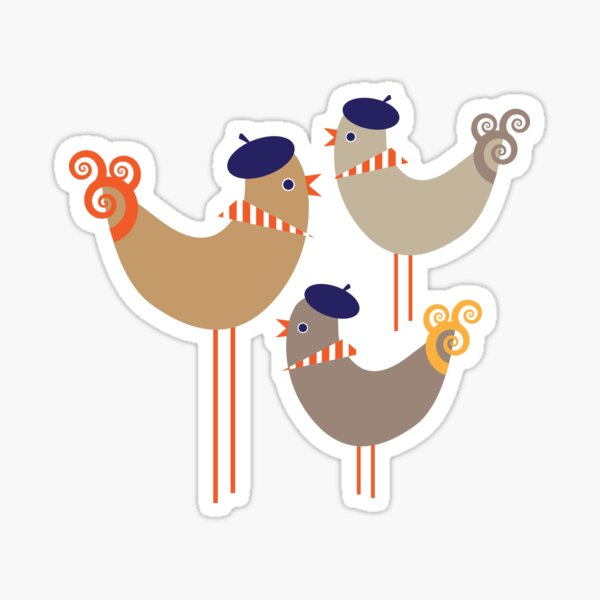 Third Day of Christmas ... Three French Hens Sticker