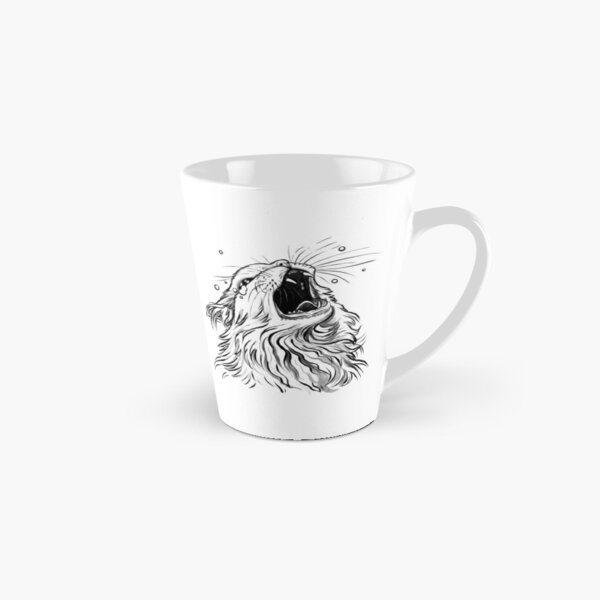 White/Lines-Only Screaming Thurston Meme Cat Tall Mug