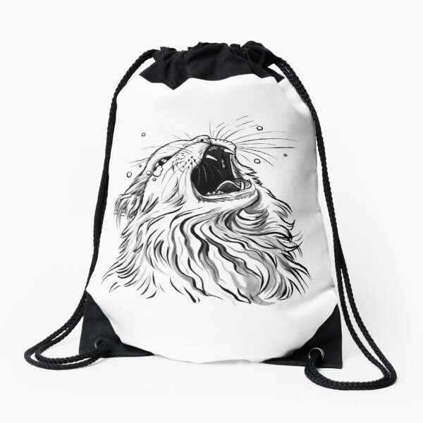 White/Lines-Only Screaming Thurston Meme Cat Drawstring Bag