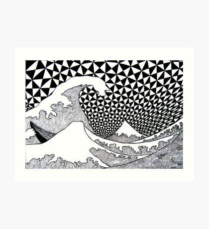 142 - VARIATION ON HOKUSAI'S WAVES (INK - 1987) Art Print