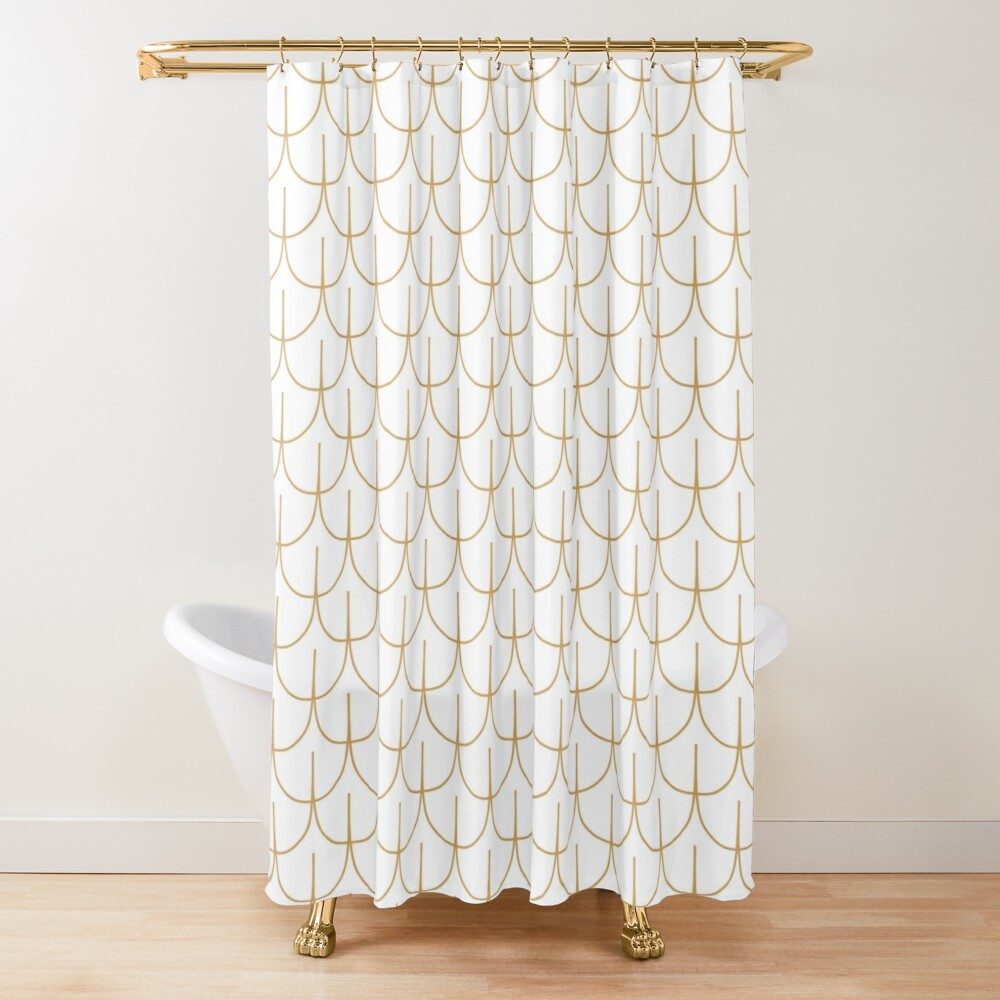 Gold And White Art Deco Fish Scale Pattern Shower Curtain By Karinai Redbubble