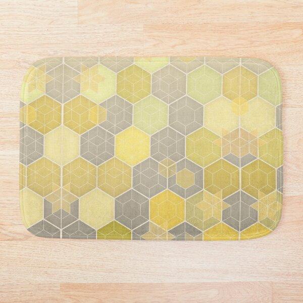 Lemon & Grey Honeycomb Bath Mat