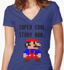 Super Cool Story Bro. (Mario) Women's Fitted V-Neck T-Shirt