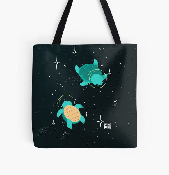 Space Turtles All Over Print Tote Bag