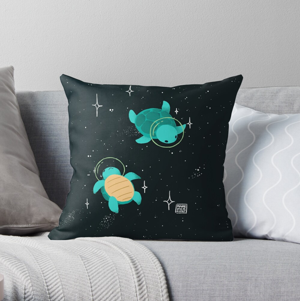 Space Turtles Throw Pillow