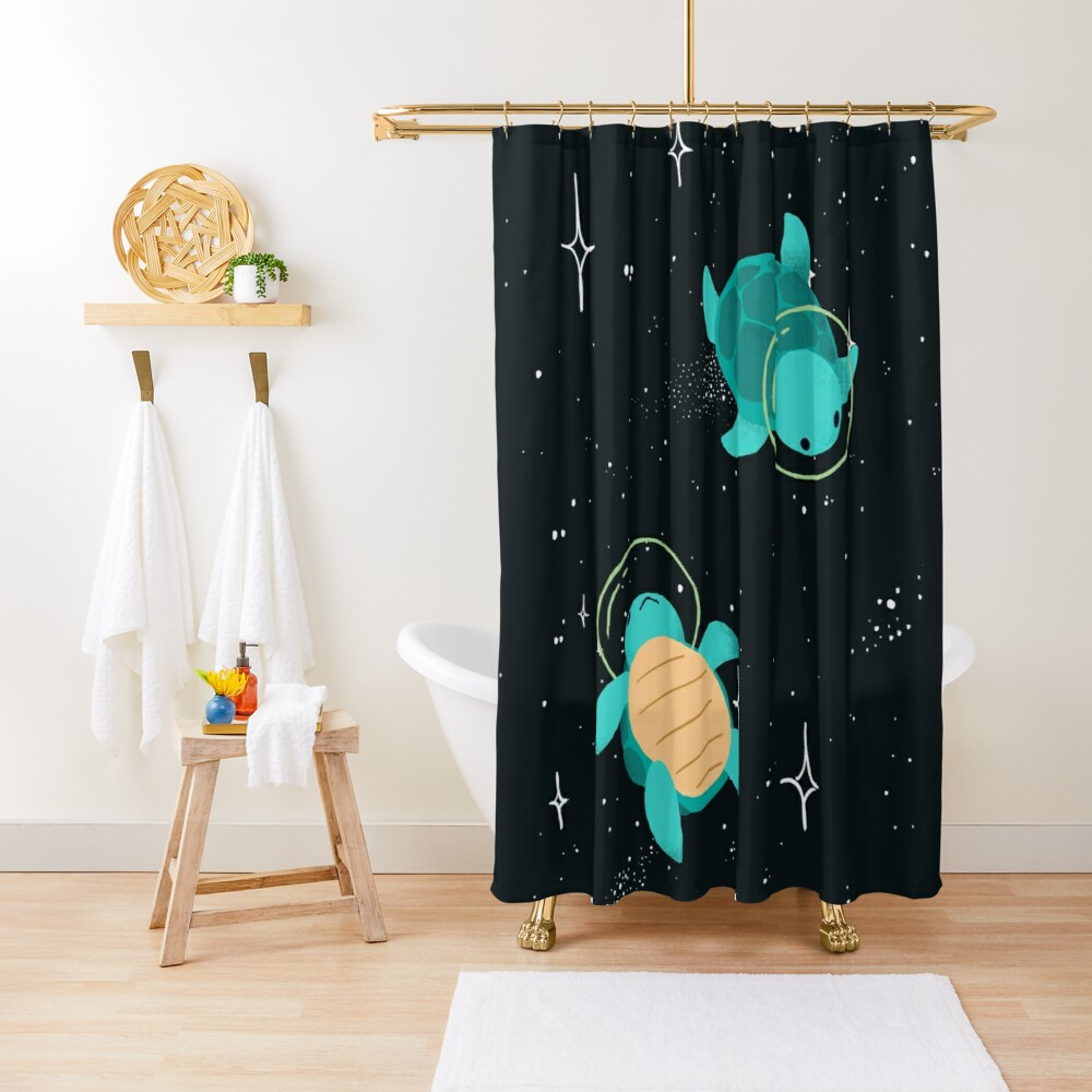 Space Turtles Shower Curtain