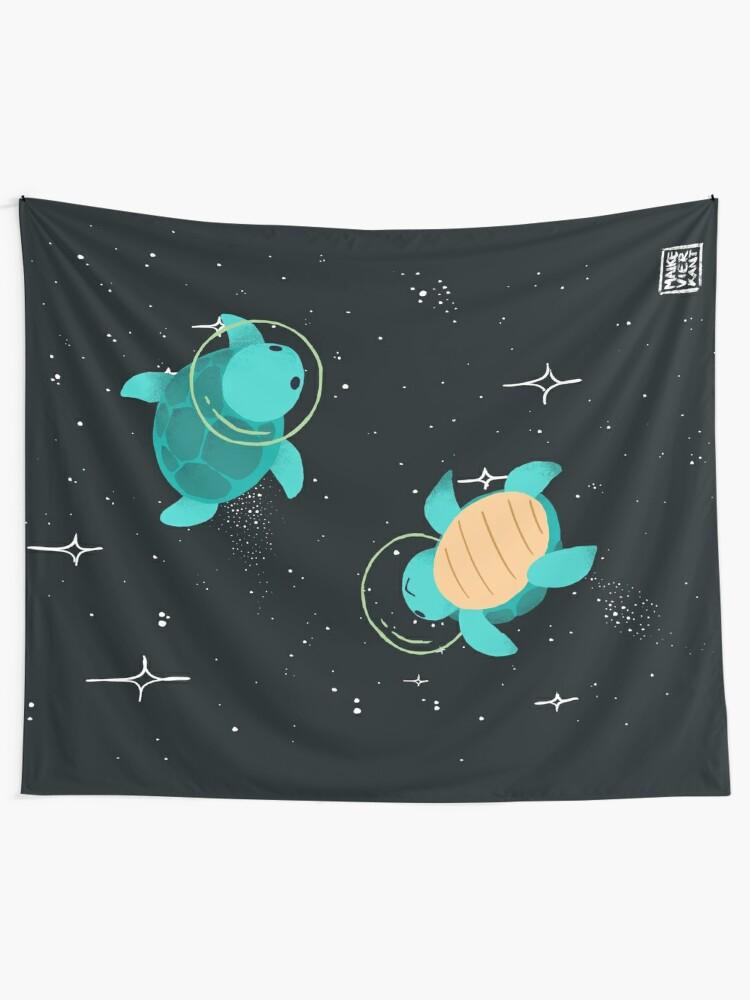 Alternate view of Space Turtles Tapestry