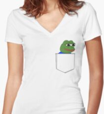 Happy Pocket Pepe Women's Fitted V-Neck T-Shirt