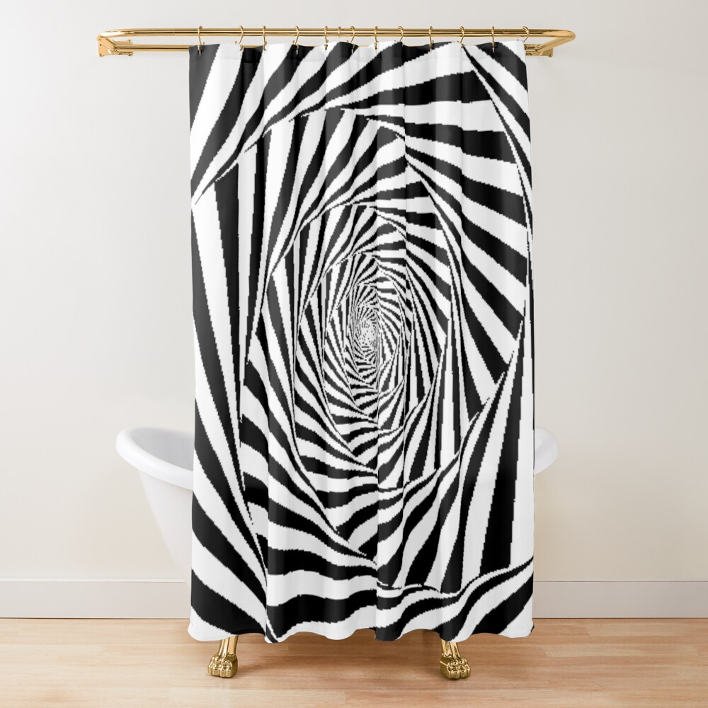Optical Illusion Beige Swirl,  ur,shower_curtain_closed,square,1000x1000