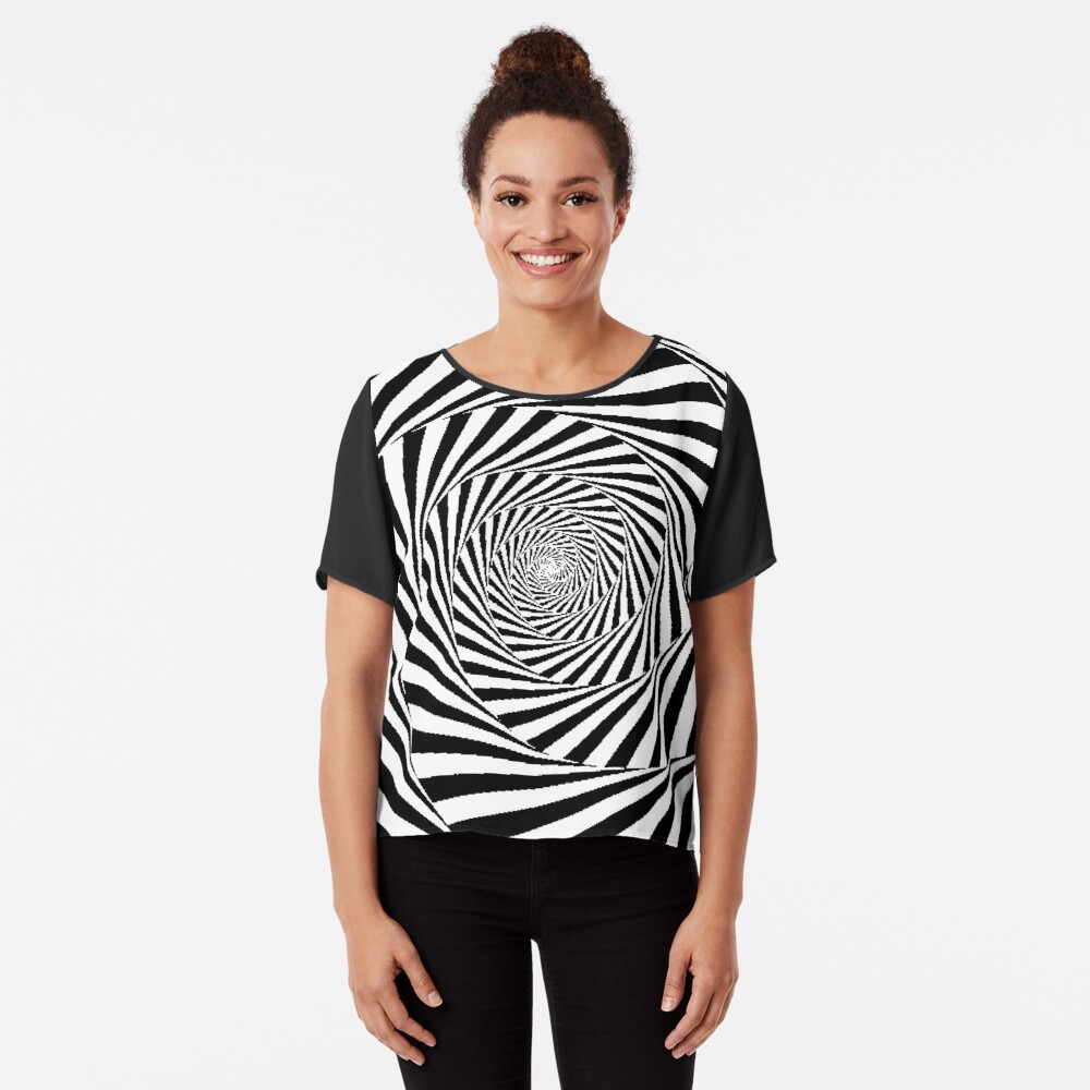 Optical Illusion Beige Swirl,  ssrco,chiffon_top,womens,black,front,square_three_quarter,x1000-bg,f8f8f8