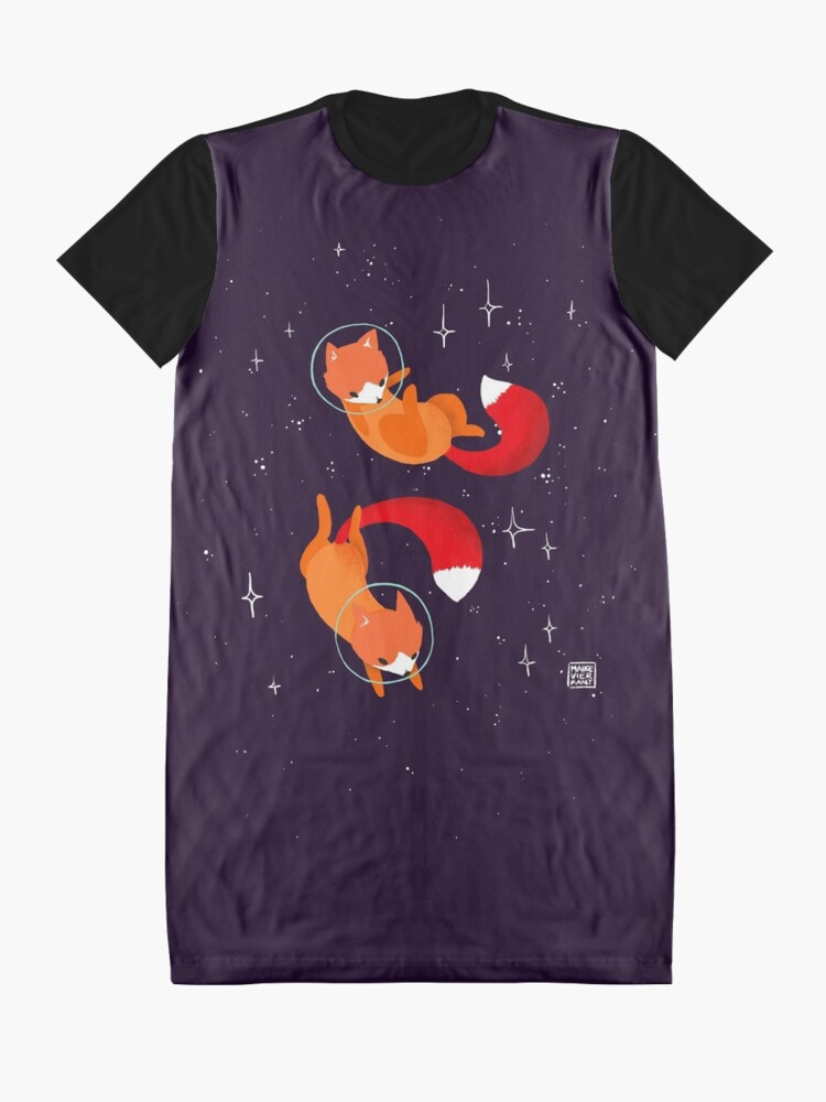 Alternate view of Space Foxes Graphic T-Shirt Dress