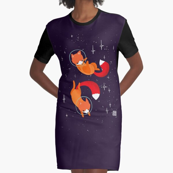 Space Foxes Graphic T-Shirt Dress