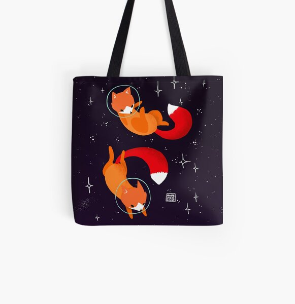 Space Foxes All Over Print Tote Bag
