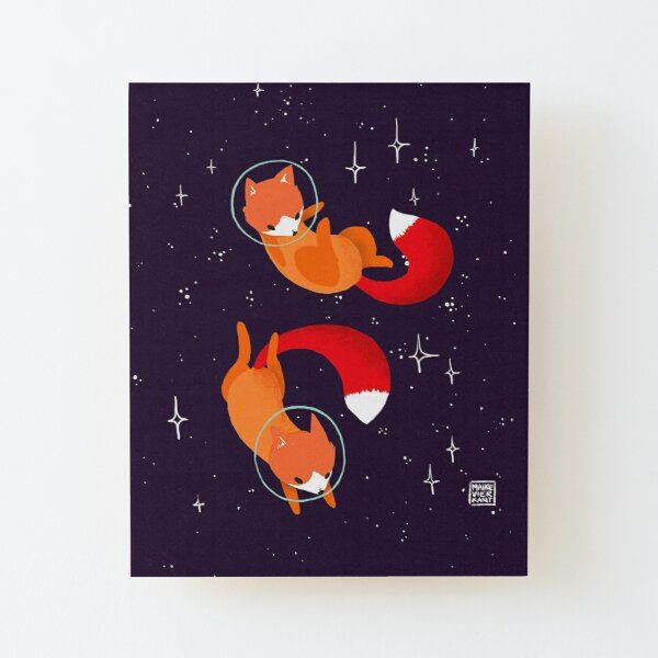 Space Foxes Wood Mounted Print