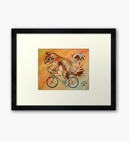 Squirrel on a Bicycle Framed Print