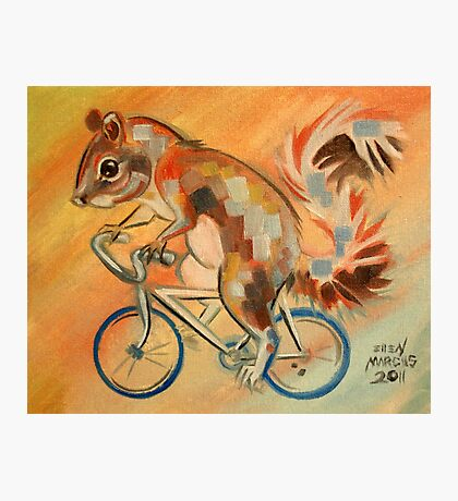 Squirrel on a Bicycle Photographic Print
