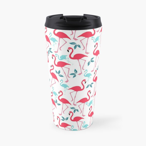 Summer trendy pink teal tropical flamingo floral pattern Travel Mug