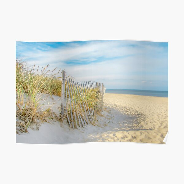 Sandy Beach, Ocean, and Dunes Poster