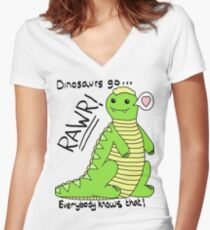 Dinosaurs Go Rawr! Women's Fitted V-Neck T-Shirt