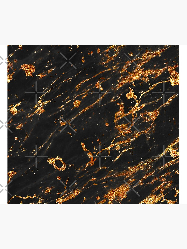 Gold Glitter Veins on Black Marble by MysticMarble