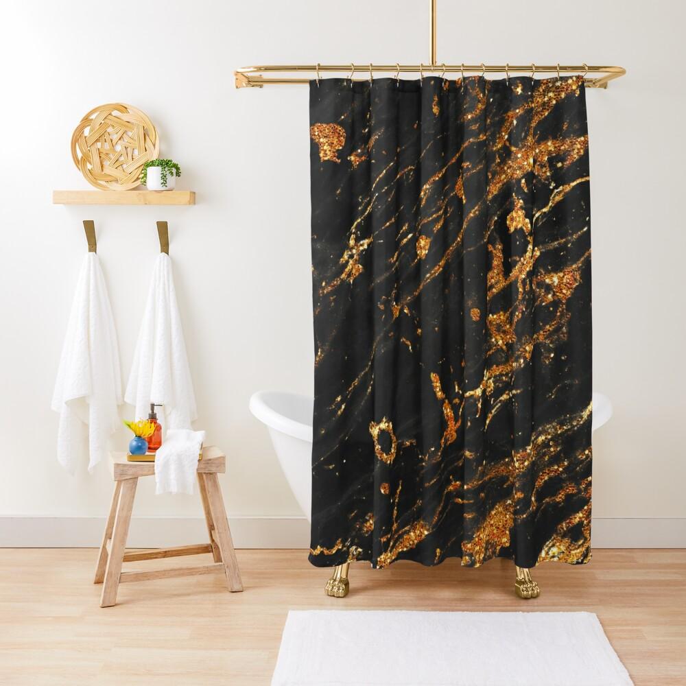 Gold Glitter Veins on Black Marble Shower Curtain
