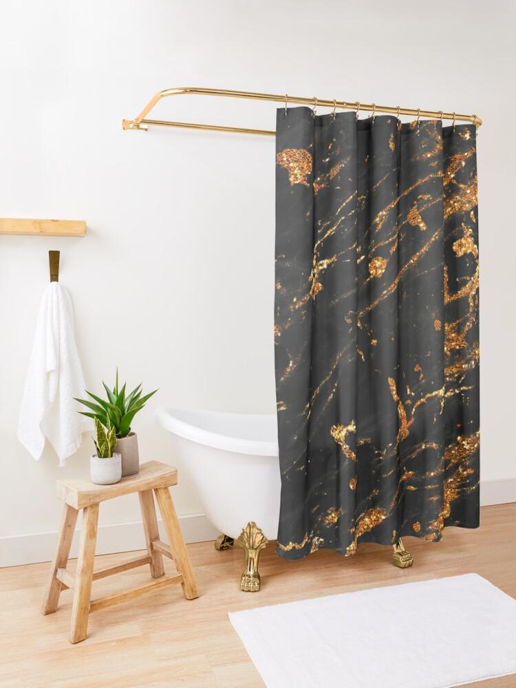 Alternate view of Gold Glitter Veins on Black Marble Shower Curtain