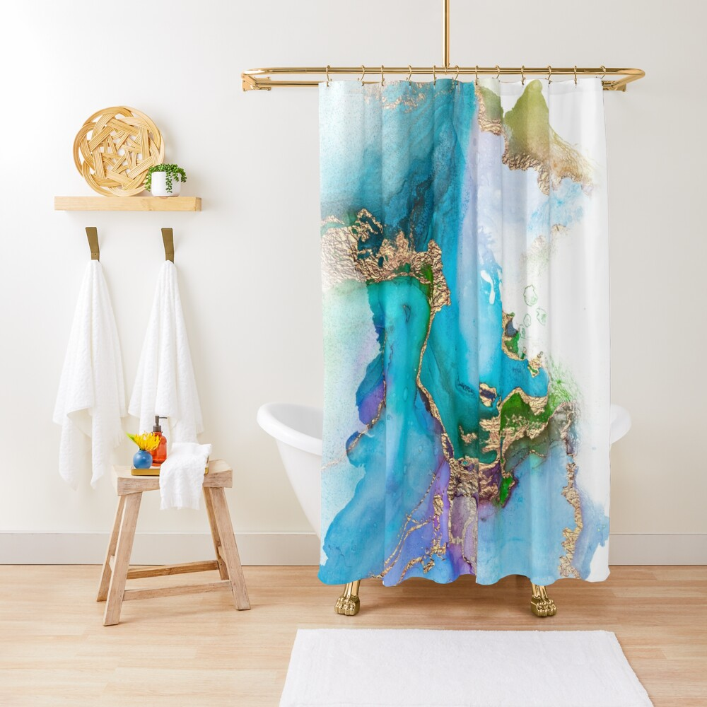 Shiny Blue and Gold Ink Marble  Shower Curtain