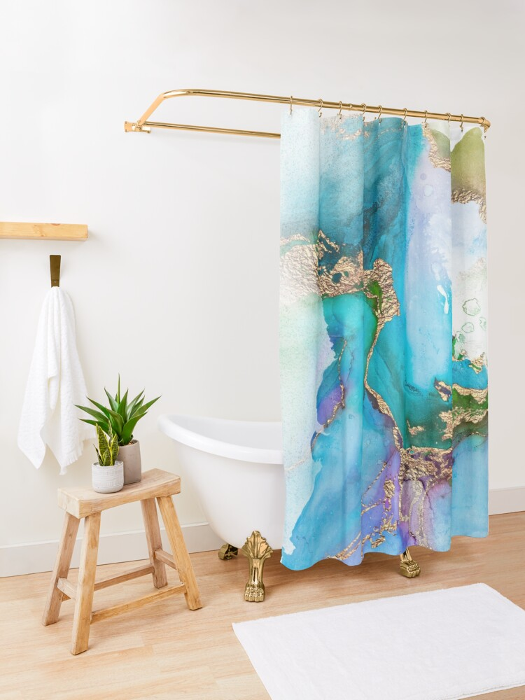 Alternate view of Shiny Blue and Gold Ink Marble  Shower Curtain