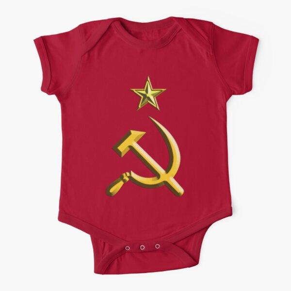 RUSSIA. USSR. Communist. Soviet Union. Hammer & Sickle. GOLD on RED. Short Sleeve Baby One-Piece
