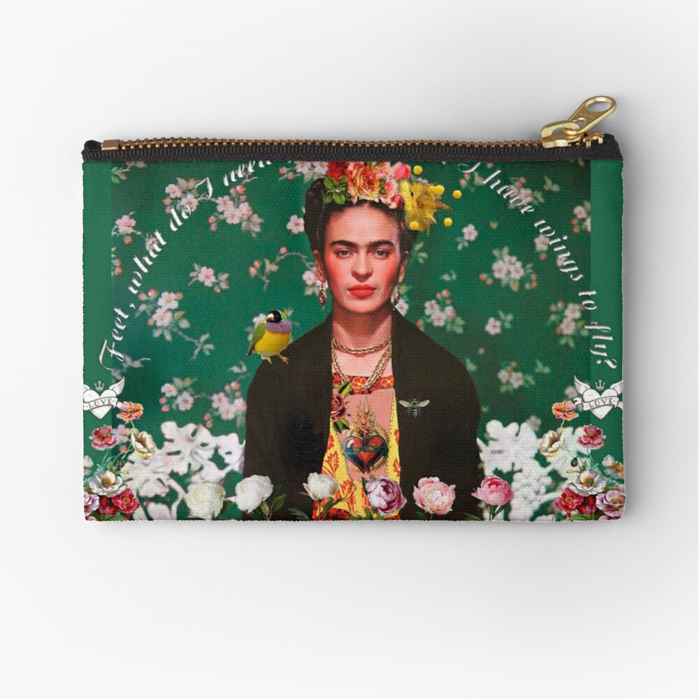 Wings to Fly Frida Kahlo Zipper Pouch