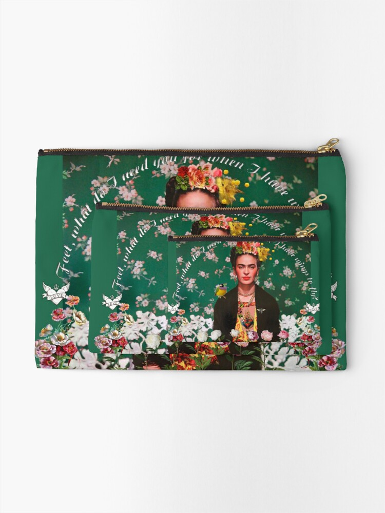 Alternate view of Wings to Fly Frida Kahlo Zipper Pouch