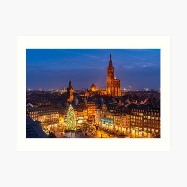 Grand sapin de noël et la Cathédrale de Strasbourg Impression artistique