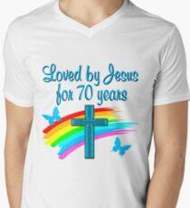 BLUE RAIN AND CROSS 70TH BIRTHDAY DESIGN Mens V Neck T Shirt