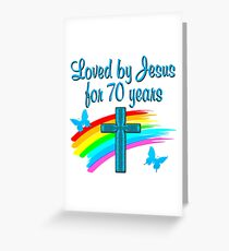 BLUE RAIN AND CROSS 70TH BIRTHDAY DESIGN Greeting Card