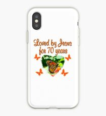 LOVED BY JESUS FOR 70 YEARS BUTTERFLY BIRTHDAY iPhone Case