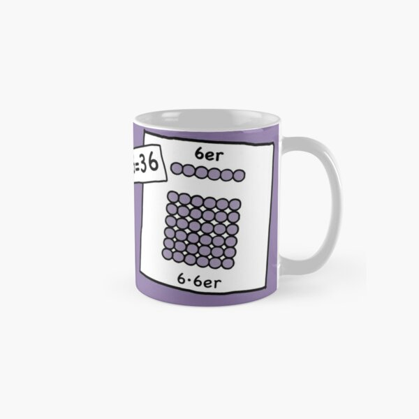 Cocoa with brains | 6 · 6 = 36 | Grasping and keeping with learning cups at breakfast | 1 Times Square Numbers | Vintage Classic Mug