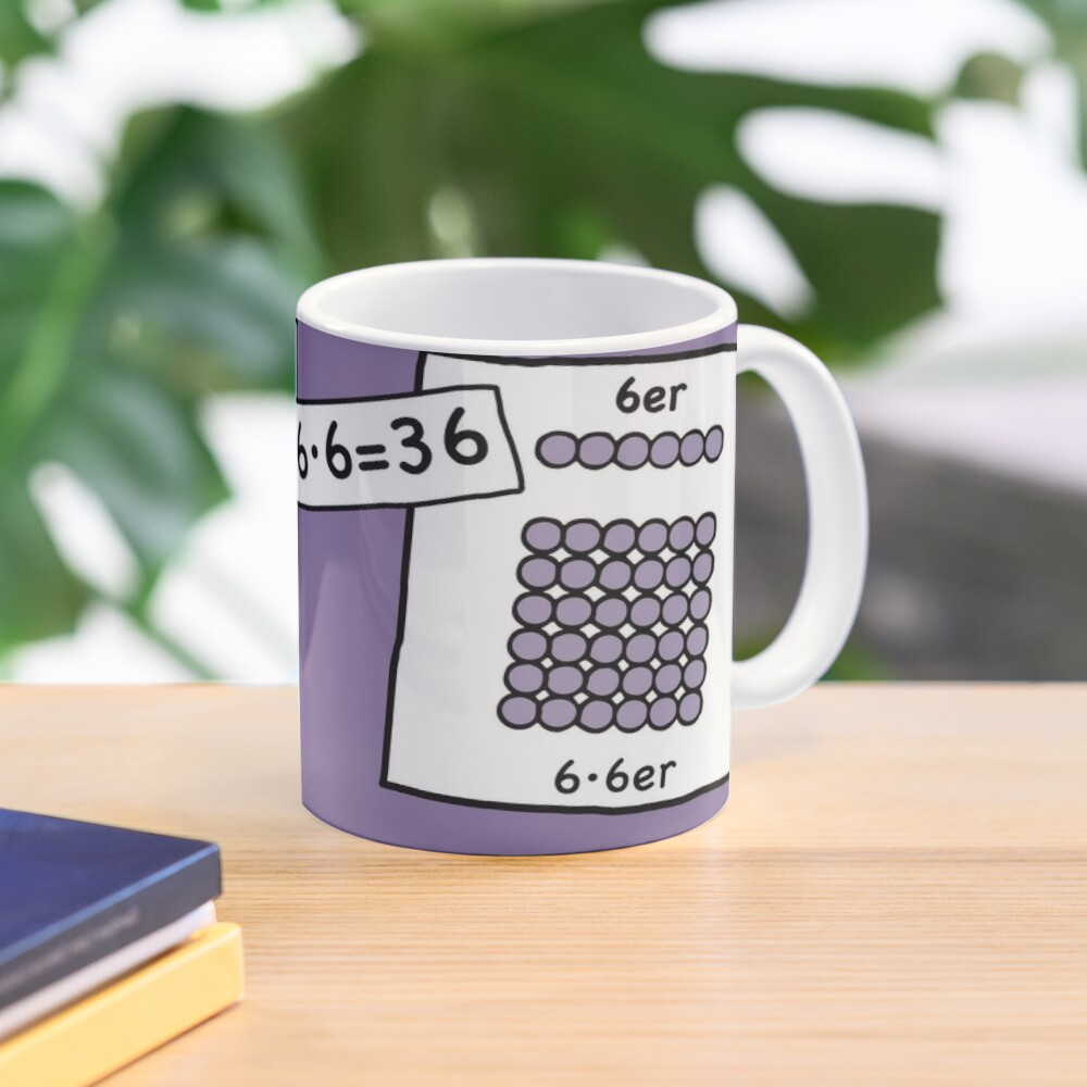 Cocoa with brains | 6 · 6 = 36 | Grasping and keeping with learning cups at breakfast | 1 Times Square Numbers | Vintage Mug