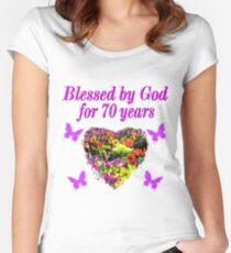 PURPLE WILDFLOWER 70TH BIRTHDAY DESIGN Womens Fitted Scoop T Shirt