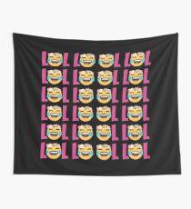 LOL Girls Emoji JoyPixels Funny Laugh Out Loud Wall Tapestry