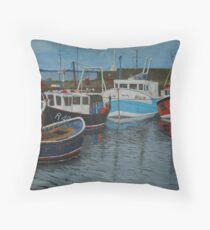Port Seton Boats - fishing boats Throw Pillow