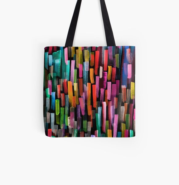 Multicolored watercolor stripes pattern All Over Print Tote Bag