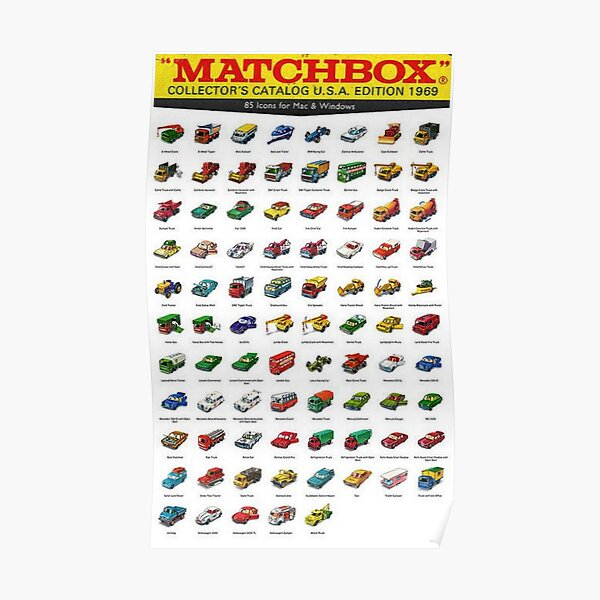 1969 Vintage Matchbox Collector's Catalog Toy Car Poster Poster