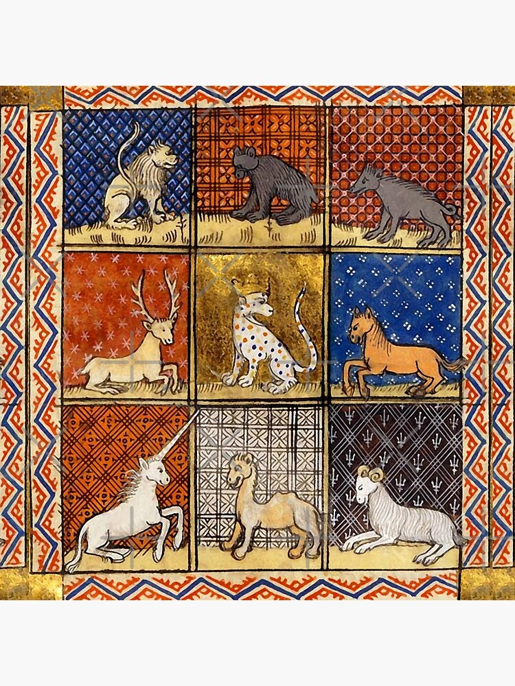 MEDIEVAL BESTIARY FANTASTIC ANIMALS IN GOLD RED BLUE COLORS by BulganLumini