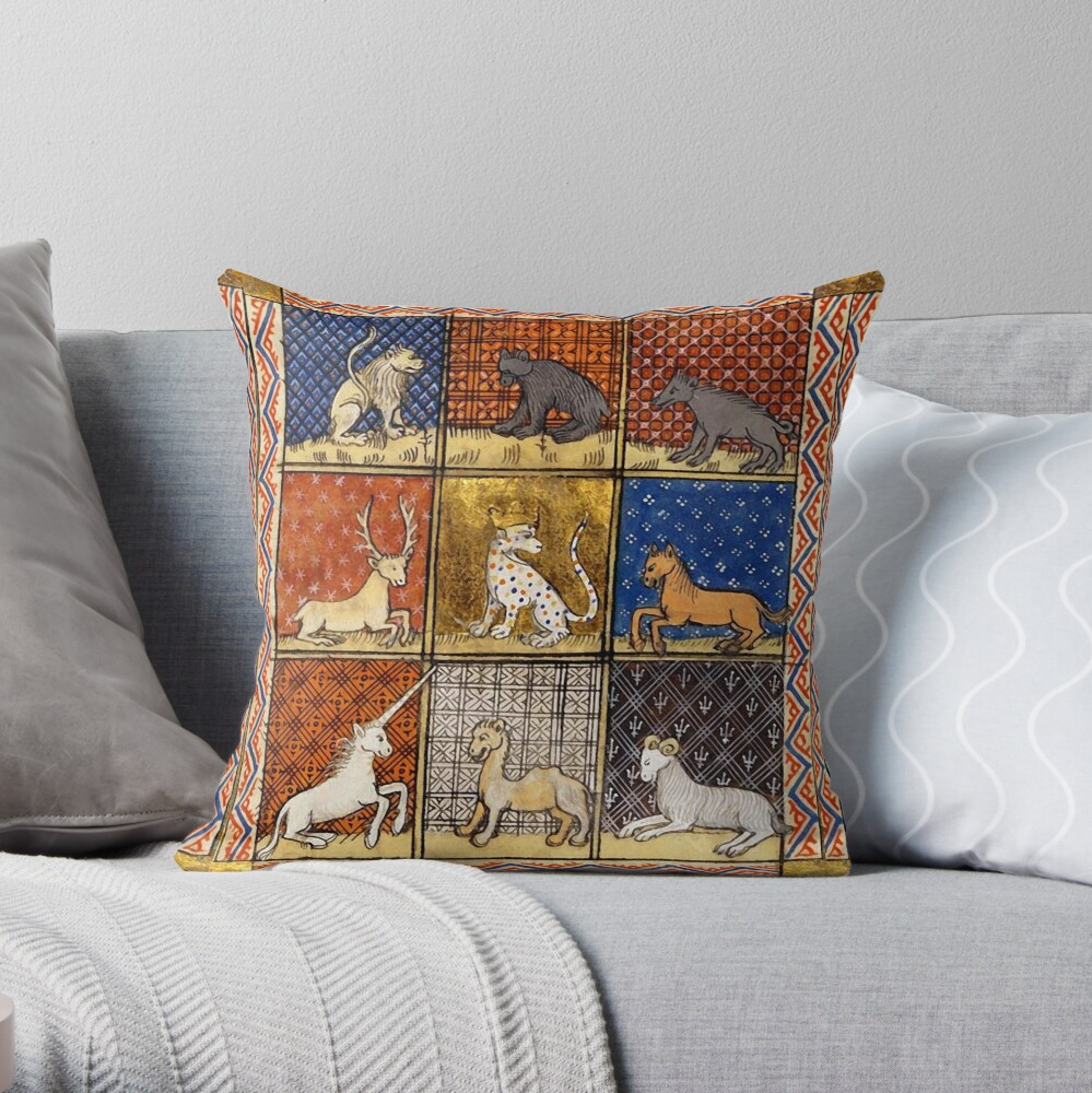 MEDIEVAL BESTIARY FANTASTIC ANIMALS IN GOLD RED BLUE COLORS Throw Pillow