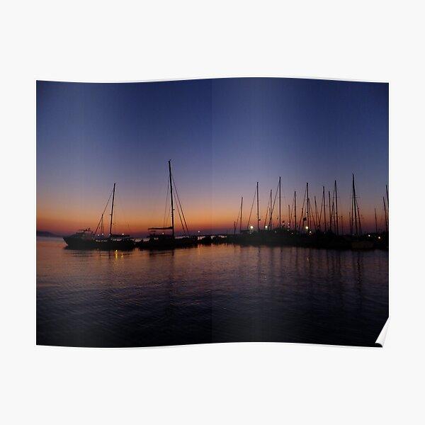 Boats at Sunset, Naxos Port Poster